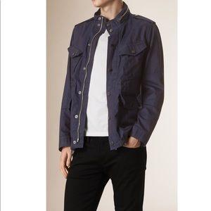 BURBERRY Men's Blue Hooded Denim Field Jacket